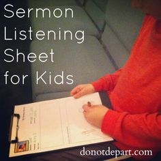 Free printable sermon note sheet for kids! #homeschool
