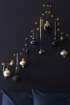 Update your Christmas decorations for navy and gold with our midnight Christmas . Update your Christmas decorations for navy and gold with our midnight Christmas baubles and wall decorations this year. Blue Christmas Decor, Gold Christmas Decorations, Christmas Trends, Gold Christmas Tree, Christmas Mantels, Christmas Mood, Modern Christmas, Christmas Baubles, Christmas Inspiration