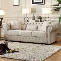 Darby Home Co Pearlie Chesterfield Sofa Upholstery: Neutral Living Room Sofa Design, Living Room Interior, Living Room Furniture, Living Room Designs, Home Furniture, Living Room Decor, Living Area, Baker Furniture, Furniture Stores