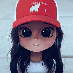 Cartoon, Portrait, Digital Art, Digital Drawing, Digital Painting, Character Design, Drawing, Big Eyes, Cute, Illustration, Art, Girl, Jenna Ortega, Saving Flora, Hat, Cap, Stuck in the Middle