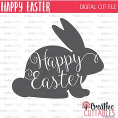 Happy Easter SVG Digital Cut File by CreativeCuttablesCo on Etsy