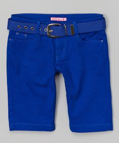 Take a look at this Royal Blue Belted Bermuda Shorts - Girls on zulily today!