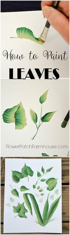 How to Paint Leaves one stroke at a time, beginner lessons on painting many shapes of leaves