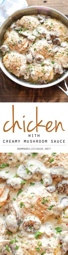 Chicken with Creamy Mushroom Sauce - Crisp-tender chicken baked to perfection, smothered in the most creamy mushroom sauce easily made from scratch! Use greek yogurt for heavy cream