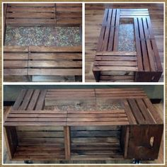 Coffee table made from crates. Coffee Table Made From Crates, Crate Ideas, Wooden Crafts, Living Room, Furniture, Home Decor, Wood Crafts, Sitting Rooms, Drawing Room