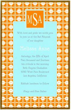 Aqua and Orange Monogram Invitation