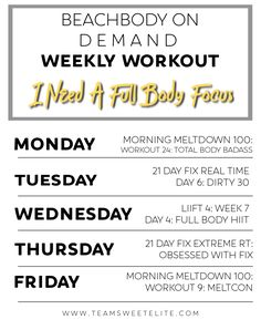 Beachbody On Demand Weekly Workout: I Need a Full Body Focus - Team Sweet Elite Weekly Workout Schedule, Workout List, Workout Calendar, Workout Plans, Weekly Workouts, Workout Routines, Workout Gear, Total Body, Full Body