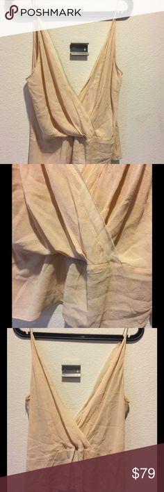 Derek Lam blush silk top Sz xs Runway piece . Blush silk lined cross front top Derek Lam Tops Blouses