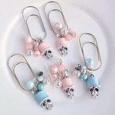 Items similar to Pastel skull gemstone top hat Halloween silver charm TN planner bead dangle wide paper clip bookmark on Etsy Paperclip Crafts, Paper Clip Art, Diy Jewelry, Jewelry Making, Blue Pearl, Halloween Skull, Silver Charms, Handmade Bookmarks, Handmade Gifts