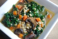 Day 13: Eat healthier, save money and find a few more minutes in the day to relax by taking your lunch to work! Mushroom Barely and Kale Soup #recipe #lunch #cookingplanit