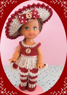 """Crochet Doll Clothes Linen Easter Outfit for 4 ½"""" Kelly & same sized dolls"""