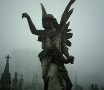Inspiring picture angel, cemetery, fog, gothic, statue, tombstones. Resolution: 375x499 px. Find the picture to your taste!