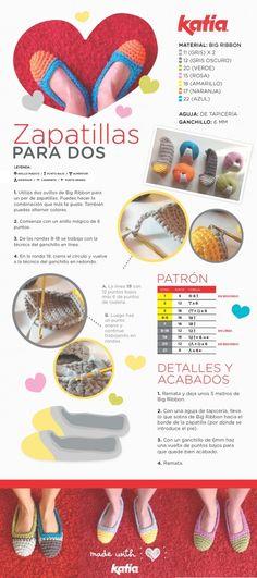 Patrón gratuito de ganchillo | ¡San Valentín a la vista! Teje con amor estas Zapatillas para dos | http://www.katia.com/blog/es/2014/02/11/san-valentin-tutorial-gratuito-diy-crochet-patron-ganchillo-regalo-handmade-original/