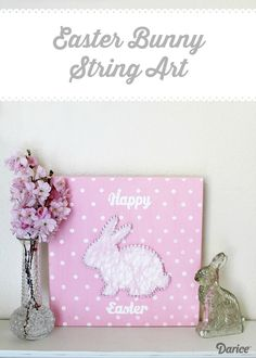 Easter Bunny DIY String Art With Free Templates - Live Craft Love - The Darice Craft Blog