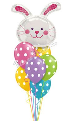 Easter Bunny Amp Dots Balloon Bouquet 8 Balloons Hand Delivered By Balloonplanet