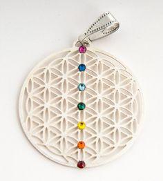 Blume des Lebens Anhänger - versilbert - Chakra - mit 7 SWAROVSKI ELEMENTS