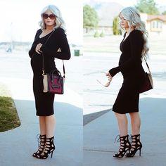 "@Cara Loren's photo: ""A little black preggo dress on the blog today plus an unexpected weekend! @WindsorStore @FASHIONPHILE Official @Vogue Eyewear #caraloren #maternity"""