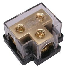 XScorpion 0 or 2 Gauge 24K Gold Plated Finish T Distribution Block With Cover by XScorpion. $9.95. Xscorpion manufactures a wide range of power / ground distribution blocks for the ultimate in flexibility for your install. Wherever wire gauge adaptors are used, Xscorpions patented design allows for maximum efficiency and current flow. All Xscorpion T type terminal blocks allow multiple amplifiers installations to be completed neatly and easily.. Save 60%!