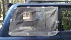 Camp in Your Car with Magnetic Window Screens (use opaque material for sleeping in the car on long drives)