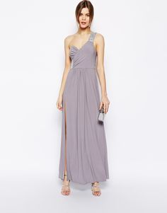 ASOS Embellished Shoulder & Side Maxi Dress