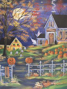 """Halloween Gold"" Art by Estelle Grengs Retro Halloween, Spooky Halloween, Halloween Painting, Halloween Prints, Halloween Pictures, Holidays Halloween, Happy Halloween, Halloween Decorations, Country Halloween"