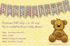 Print your own invitation. Baby Shower Invite - Teddy Bear Design