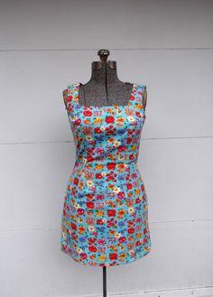 Floral Denim Sheath Mini Dress Paris Blues by rileybella123, $34.00