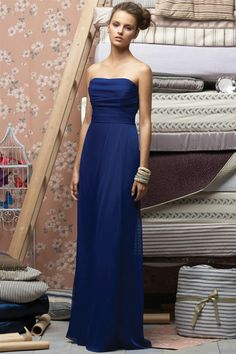Strapless Elegant Ruched Long Off The Shoulder Royal Blue Bridesmaid Dresses