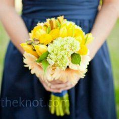 Yellow tulip bridesmaid bouquet