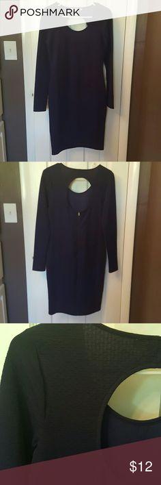 Long-sleeved Navy dress Form fitting, open in back, calf length Forever 21 Dresses Midi