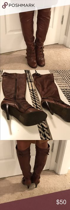 "ALDO - Brown Leather Boots Great condition. Round toe with cute buckle details. Heel is approx 3.5-4"". Boots measure 21"" from toe to top of boot. ❌no trades. ❌no paypal. ❌no negotiating in comments. ✅only reasonable offers considered. Aldo Shoes"