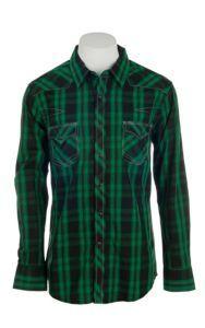 Rock & Roll Cowboy Men's Green Plaid L/S Western Shirt   Cavender's