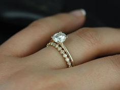 Skinny Alberta & Petite Bubbles 14kt Yellow Gold Round FB Moissanite and Diamonds Wedding Set (Other metals and stone options available)