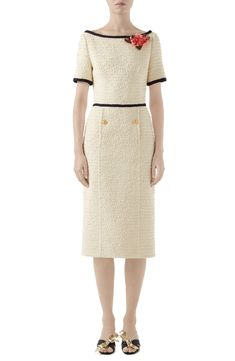 b1dab3e1 Gucci Floral Appliqué Bouclé Tweed Midi Sheath Dress | Nordstrom