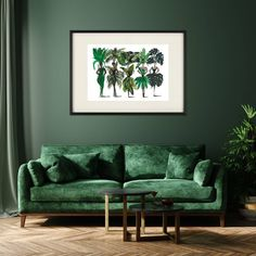 Dark Green Couches, Dark Green Living Room, Green Dining Room, Dark Green Walls, Art For Living Room, Living Room Decor Green, Velvet Green Couch, Green Wall Color, Green Accent Walls