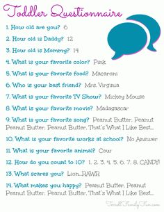 Toddler Questionnaire January 2013