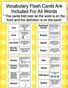 Go Math! Florida 5th Grade Vocabulary Cards Common Core Word Wall ...