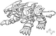 Liger coloring pages ~ 241 Best LineArt Zoids images   Sketches, Robot animal ...