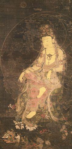The Water-Moon Avalokiteshvara, a form of the bodhisattva of infinite compassion and wisdom. 14th c, Korea, painted silk.