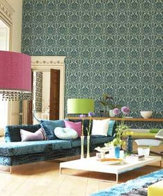 flocked wallpaper for accent wall in bedroom