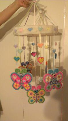 Butterflies & Hearts Mobile - Plastic canvas by sanzosgal