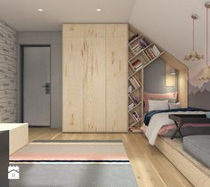 Interesting layout for teen Kids Bedroom, Bedroom Decor, Teenage Room, Attic Rooms, Kids Room Design, Girl Room, Child's Room, Room Inspiration, Small Spaces
