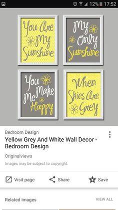Gray Bedroom, Bedroom Decor, White Wall Decor, Grey Bathrooms, White Walls, Yellow, Frame, Design, Home Decor