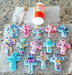 Salt Dough cross with beads pressed in
