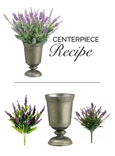 Make this simple centerpiece for your DIY wedding with faux lavender bushes from afloral.com and a beautiful rustic urn. #afloral