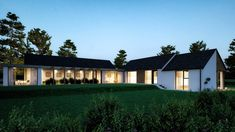 A pair of modern homes on adjacent sites, both unique, but designed to compliment each other and featuring a lovely mix of natural materials. House Designs Ireland, Modern Log Cabins, Rural House, Log Cabin Homes, Modern Farmhouse, Modern Homes, Bungalows, Mansions, Natural Materials