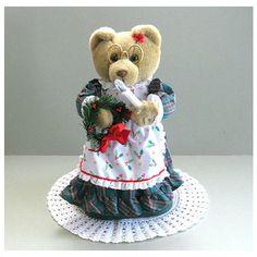 Christmas Bear Teddy Bear Doll Artist Bear Toy Unique Bear Decor Girl... (€22) ❤ liked on Polyvore featuring bear decor
