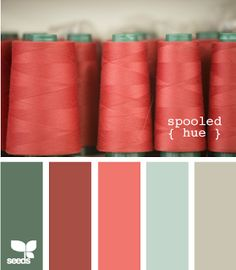 Green, Red, Coral, Blue accents with Greyish-beige? walls. Color ideas for the office.