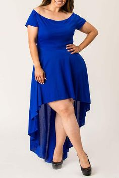 Fabric is Polyester Lycra Boat neck Short sleeves with back zipper opening Flared high low bottom Machine Wash Cold, tumble dry and light iron if needed Plus Size Party Dresses, Plus Size Outfits, Wedding Dress Shopping, Wedding Dresses, Plus Size Wedding, Blue Dresses, High Low, Hourglass, Short Sleeves
