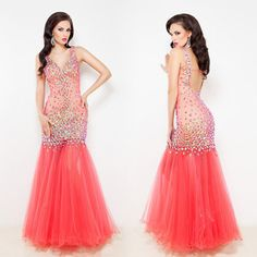 Luxury Long Sequined Mermaid Prom Dresses 2015 Backless Party Evening Gown